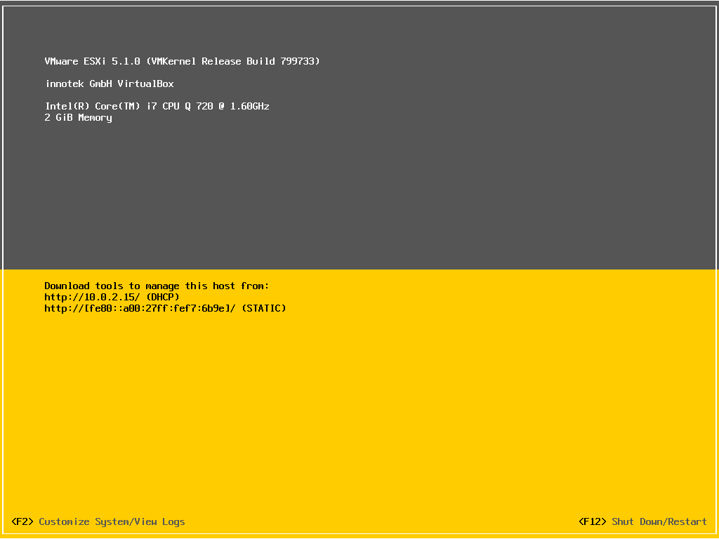 Test Esxi 5 1 0 With Virtualbox Toys For The Desk